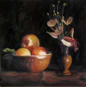 Martwa natura z jabłkiem - mała forma malarska